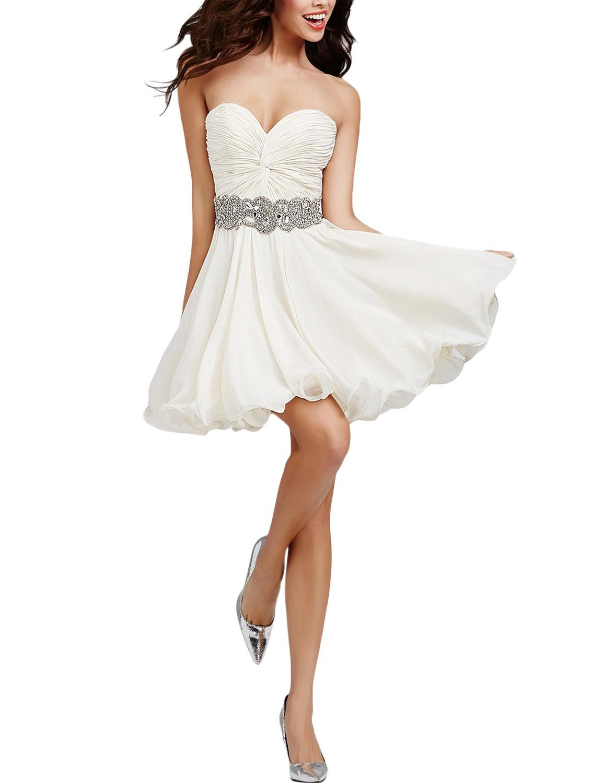 Seasonmall womenus short prom dresses a line chiffon white