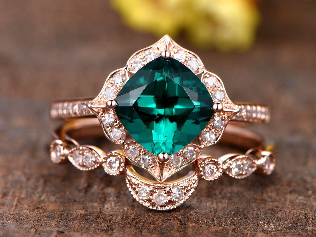 1.3ct Emerald Engagement Ring Vintage Floral Diamond