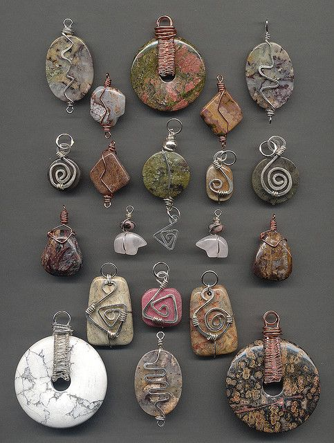 Photo of Stone and wire wrapped pendants before oxidizing