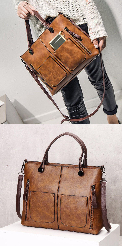 Bagail Women Retro Solid Tote Bags Dating Weekender Bag  3bbe07ce2b768