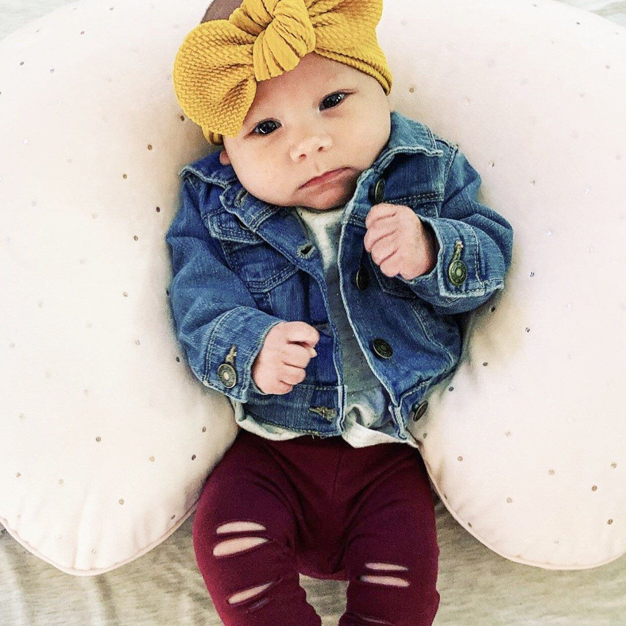 Turbans For Tots Mauve Top Knot - baby top knot headband pink top knot rose blush jersey