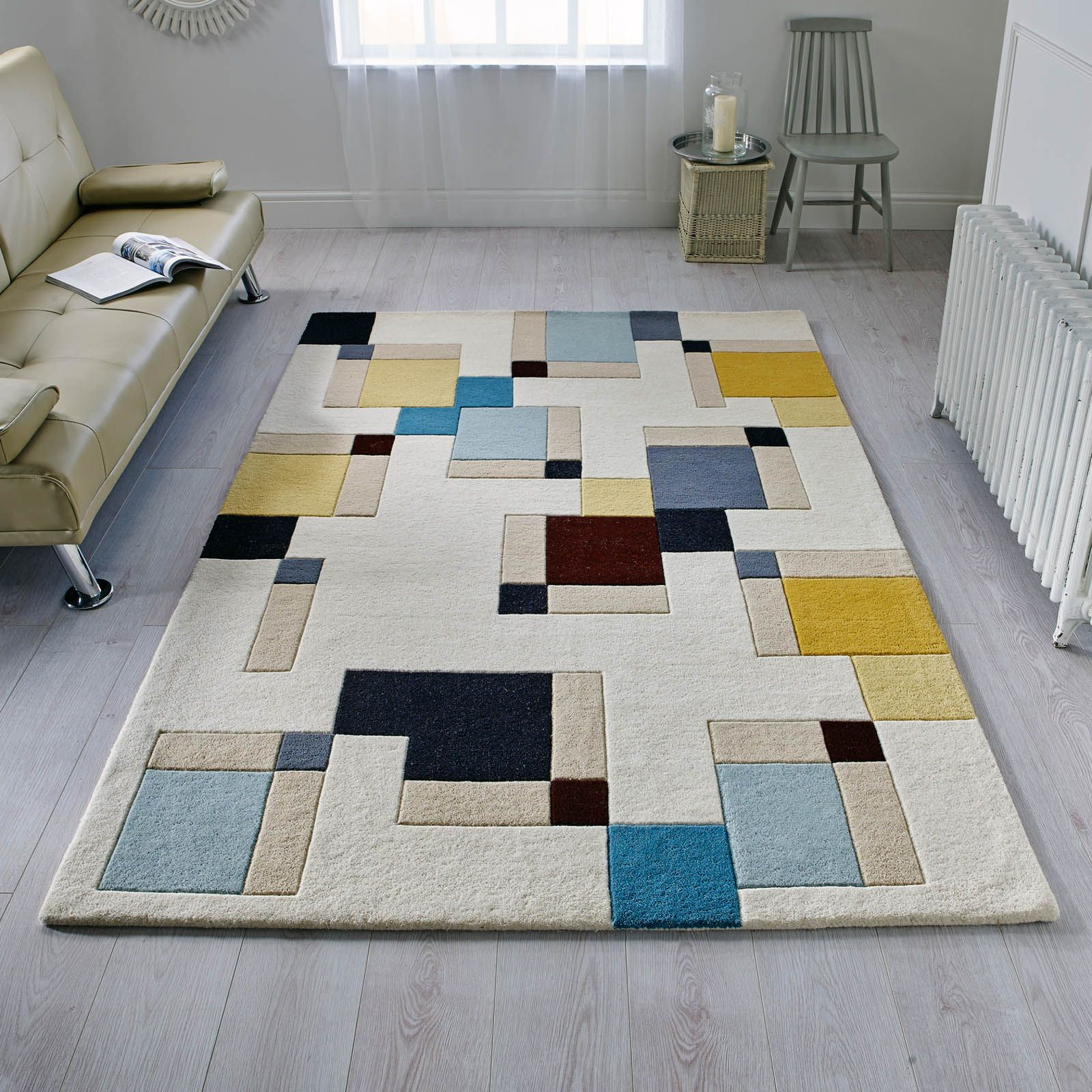 Illusion Abstract Blocks Rugs In Blue