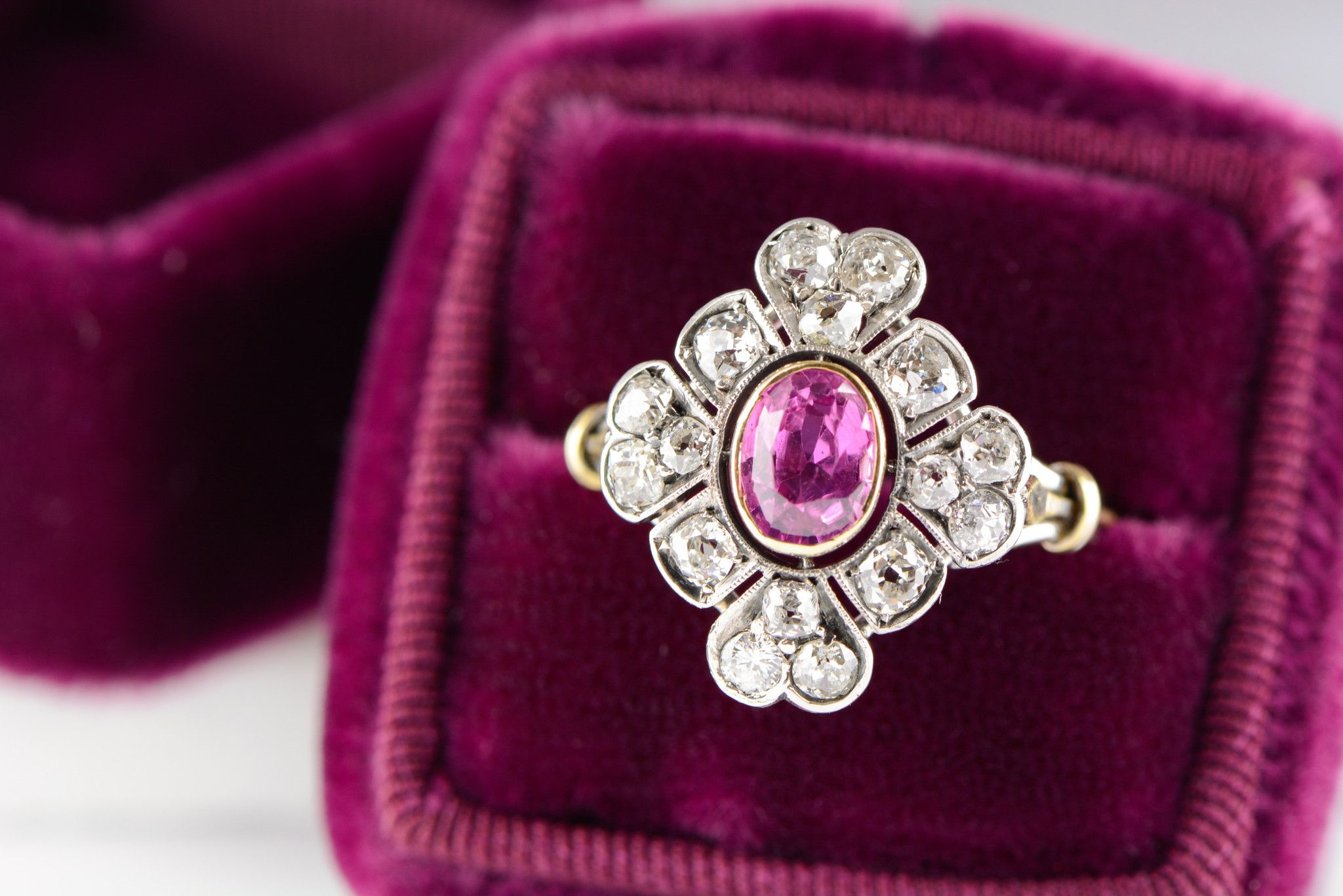1.50 ctw Victorian; Pre-Art Deco Pink Sapphire / Ruby and Old Mine Cut Diamond Cluster Engagement, Cocktail, or Anniversary Ring