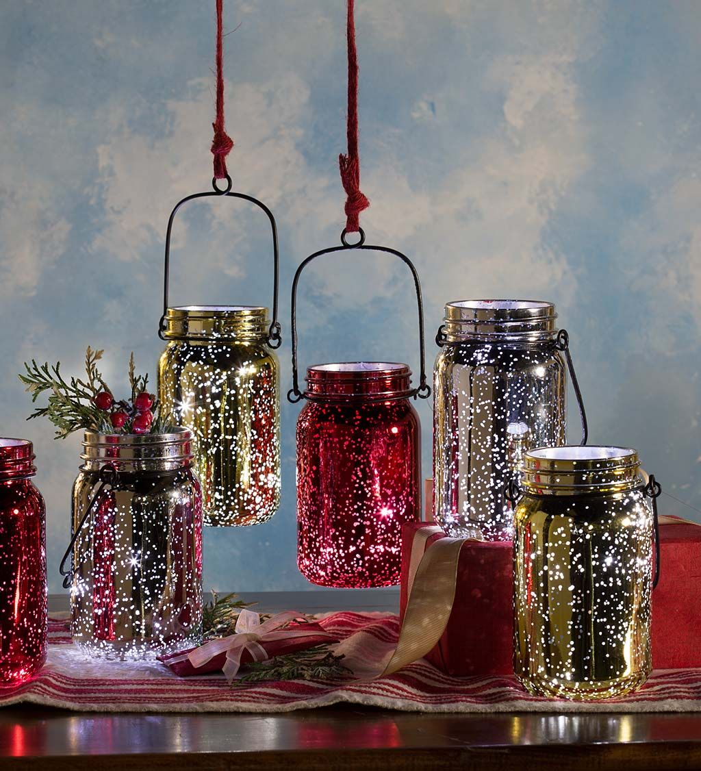 Lighted Mercury Glass Mason Jars Set Of 2 Indoor Holiday Decorations Mason Jars Glass Mason Jars Mercury Glass