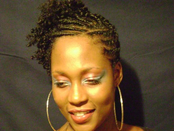 Flat Twists Natural Hairstyle Updo - Front