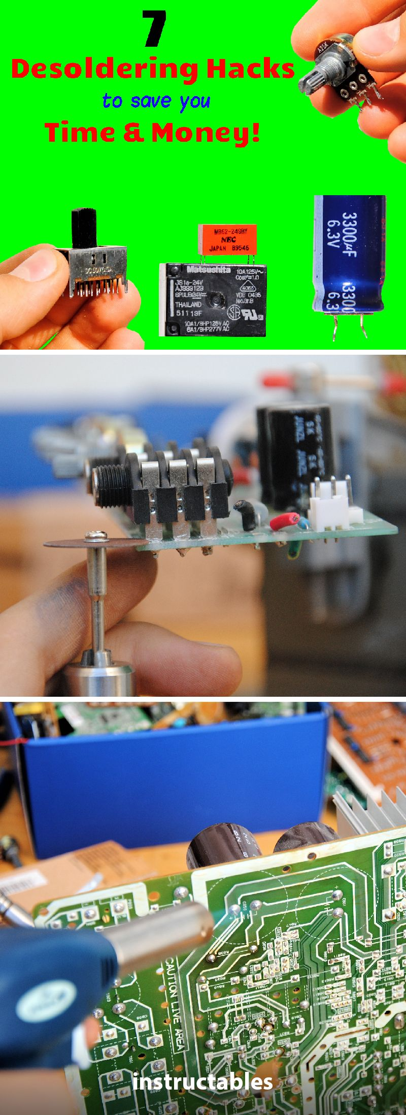 How To Desolder Electronic Components From Circuit Boards 7 Tips Schematic Diagram Circuits Pinterest Tricks Free Parts