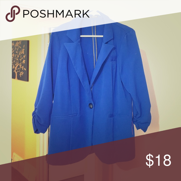 Blue pleated blazer XL Worn only once - beautiful royal blue Maurices Jackets & Coats Blazers