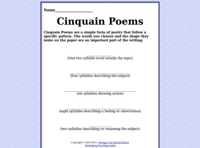 Cinquain Poem Template Syllables  Google Search  Descriptive