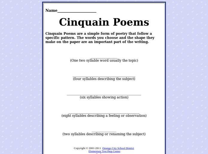 Cinquain Poem Template | Cinquain Poem Template Syllables Google Search Descriptive