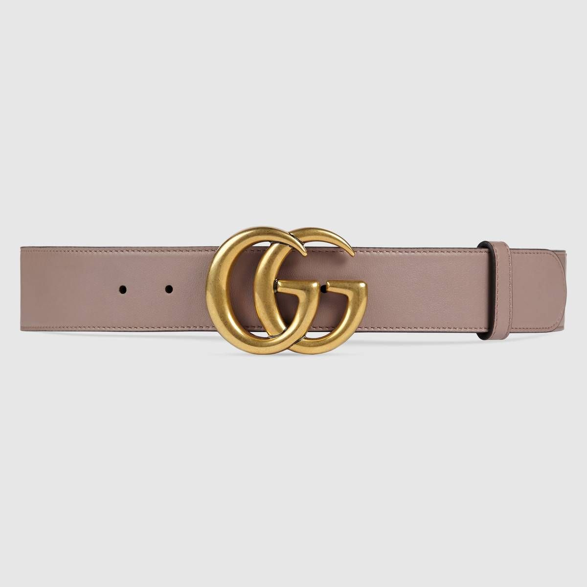 e8a02bb0ecf57 Leather belt with Double G buckle - Gucci Women's Belts 400593AP00T5729  dusty pink