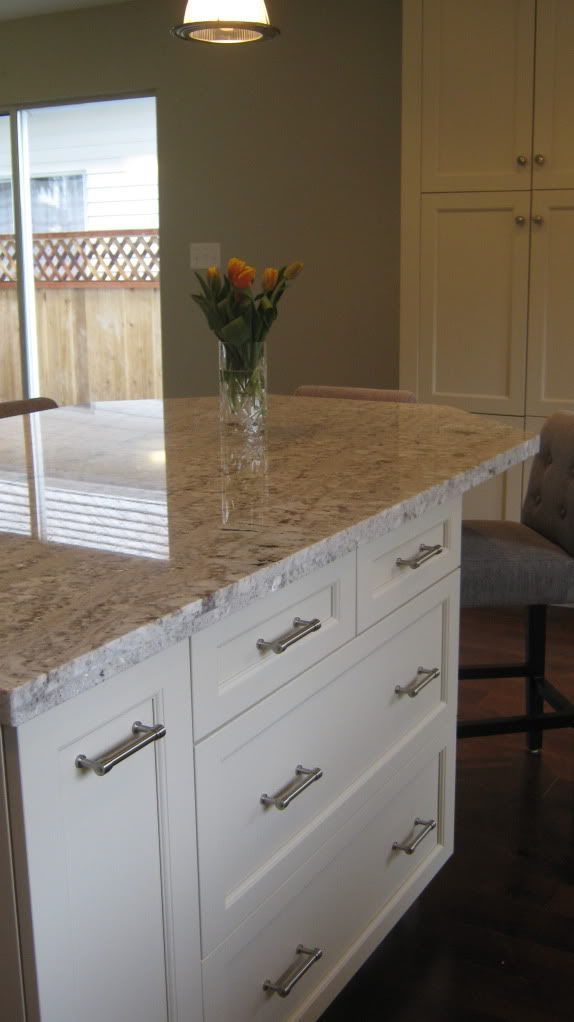Cabinets   Kitchen Craft Lexington Maple Seashell Granite   White Springs  Appliances   Kitchenaid Hood Fan   Venmar Jazz Cabinet Hardware    Restoration Hdwe ...