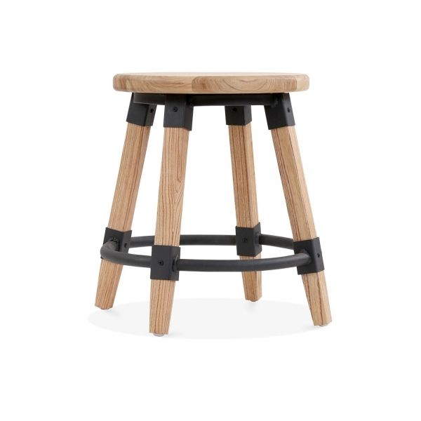 Cult Living Bastille Round Low Stool Natural Wood 45cm