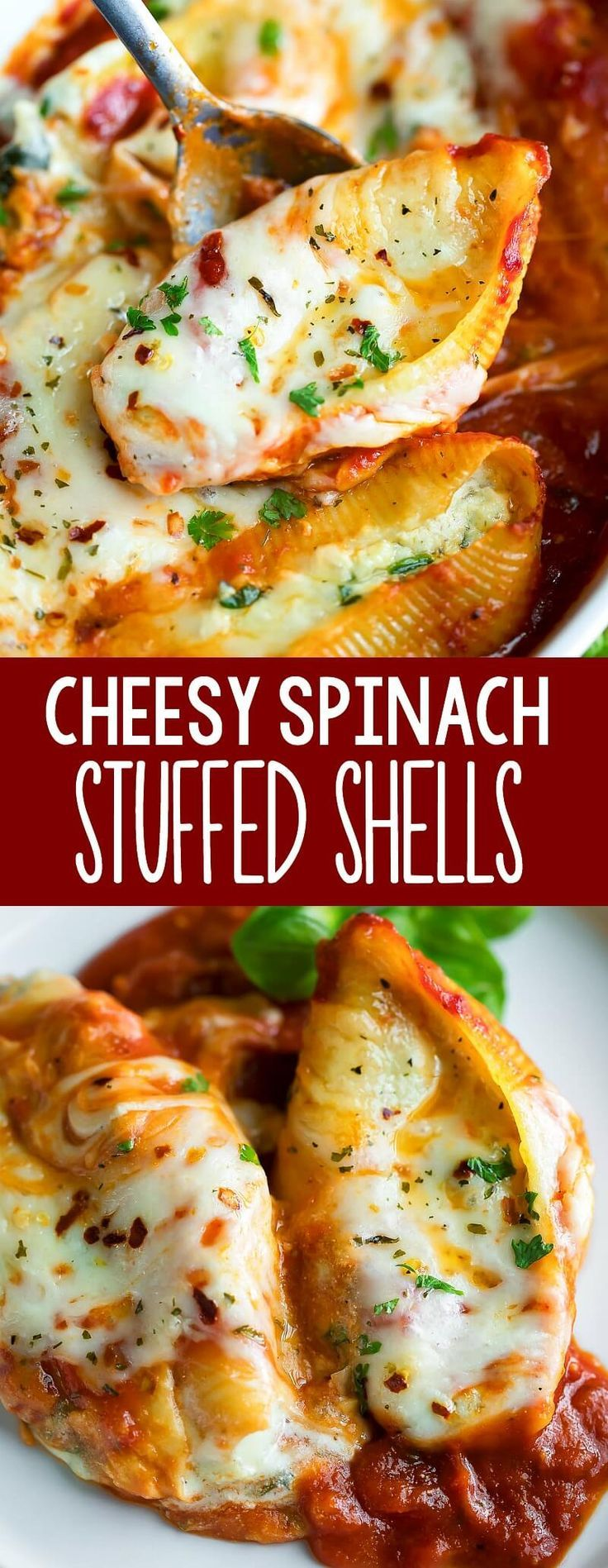 food dinner #food #foods These cheesy spinach stuffed shells are a family favorite! Rock your weeknight dinner routine by making the shells in advance. The leftovers are amazing and can be enjoyed all week long! #pasta #cheese #spinach #garlic #vegetarian #freezerfriendly #mealprep #makeahead #casserole