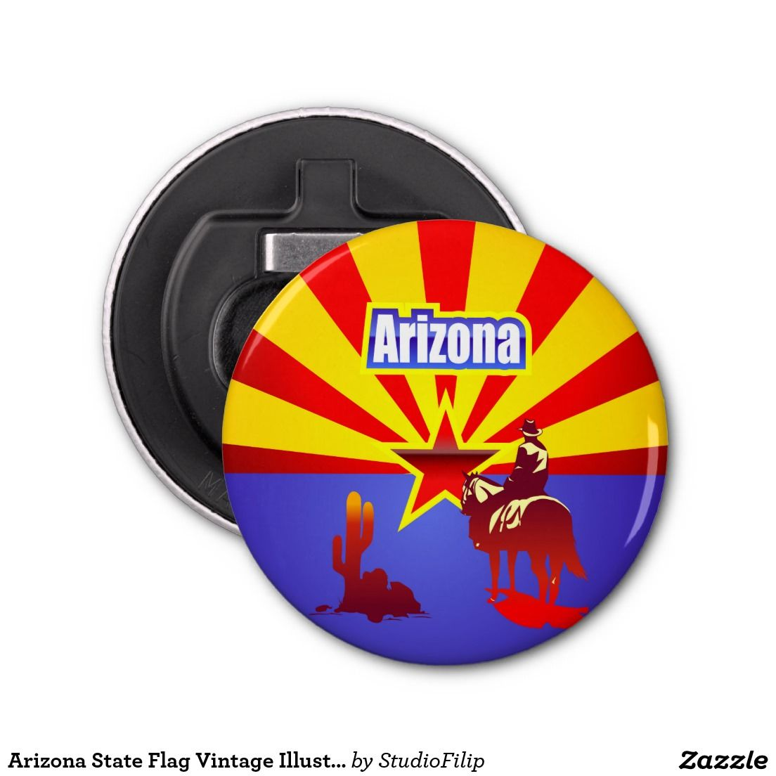 Arizona State Flag Vintage Illustration Bottle Opener