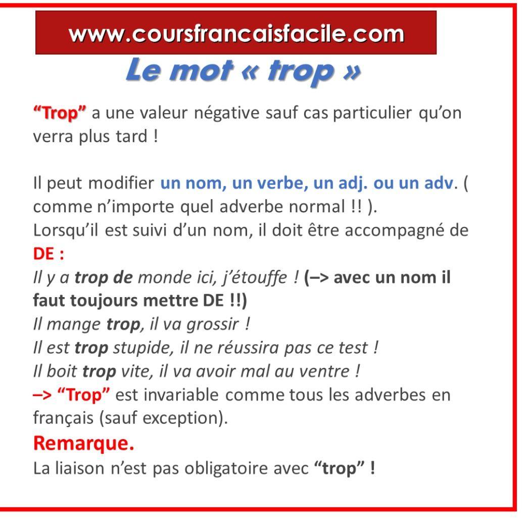 Trop Et Tres Apprendre Le Francais Apprentissage De La Langue Francaise Mots Francais