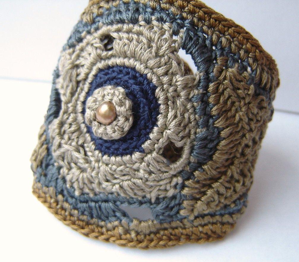 Moon Flower Ipomoea alba Freeform Crochet Cuff bracelet in Soft ...