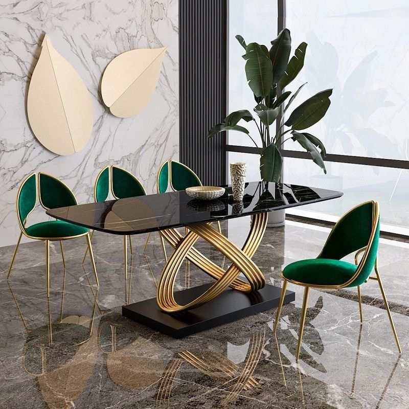 989.0US $ |Simple Light Luxury Stainless Steel Marble Dining Tables Modern Creative Golden Dinning Table Set|Dining Tables|   - AliExpress