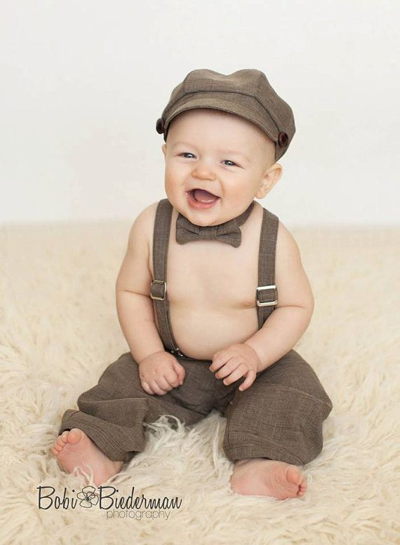 Newsboy Outfit Hat Suspenders Pants Bowtie Baby By