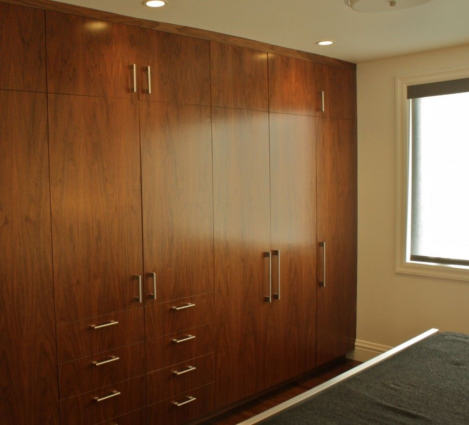 Furniture, Stunning Mahogany Built In Wardrobe Closet Designs With ...