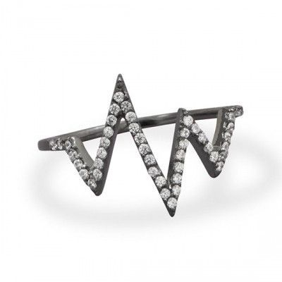 Ruthenium Plated CZ Heartbeat Design Ring .925 Sterling Silver.