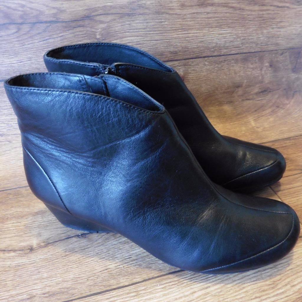 Ebay uk leather work gloves - Size Uk 8 D Clarks Black Leather Zip Up Ankle Boots Trouser Shoes Shoe Boots