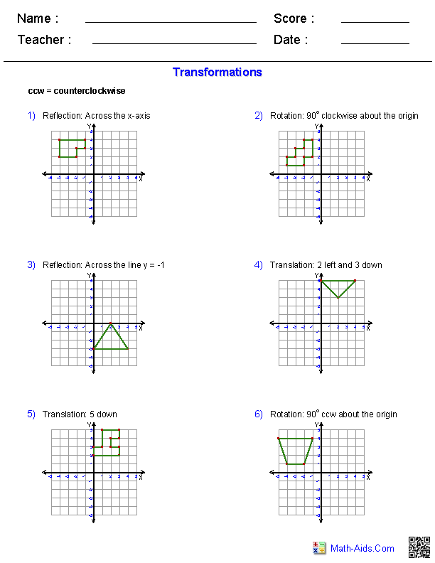 Geometry Worksheets Transformations Worksheets Translations Math Reflection Math Transformations Math