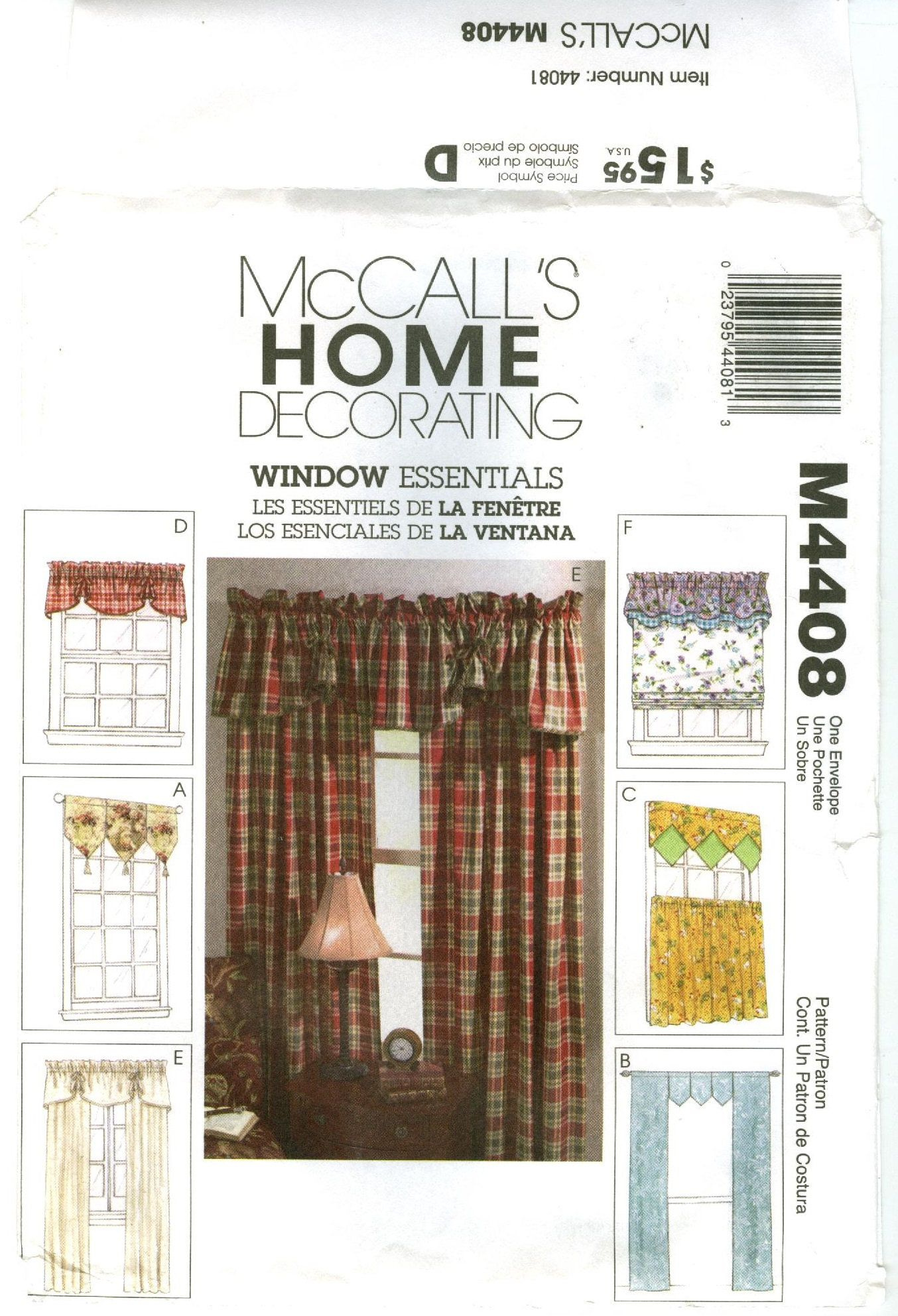 M4408 Mccall S Home Decorating Window Essentials 6 Window Treatments Valances Panels Cafe Curtains Uncut Sewing Pattern Window Treatments Cafe Curtains Home Decor