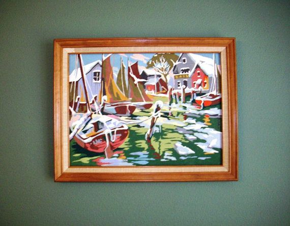 Vintage 1970s Paint By Number, PBN, Sea Views, Seaside, Harbor, Wharf, Sailboats, Red, Green, Blue, Swirls.