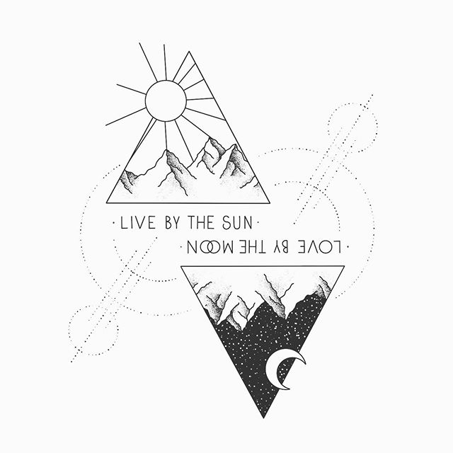 Live By The Sun Love By The Moon Line Art Black And White Art Drawing Moon Drawing Moon Tattoo