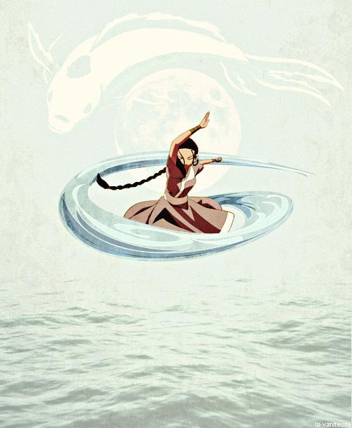 Moon In Avatar Movie: Katara Love The Moon Spirit In The Back Ground.