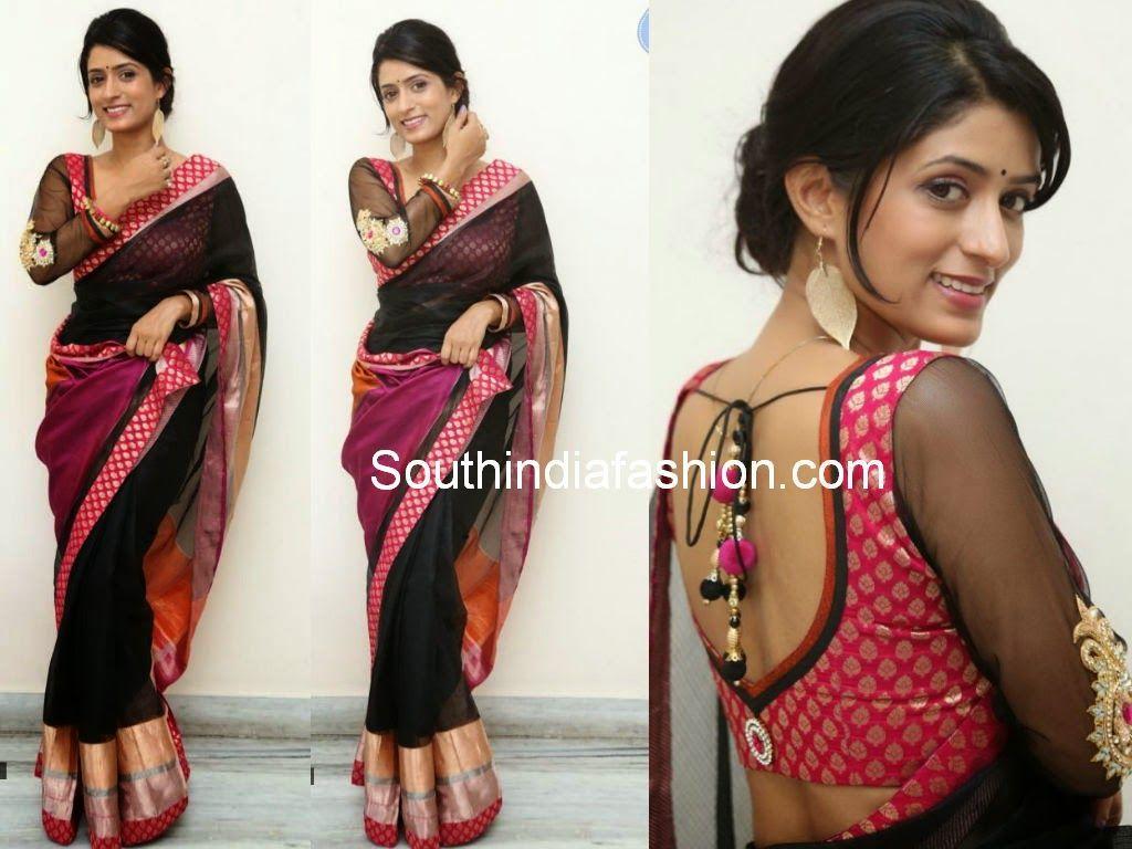 Latest saree blouse design neck - Blouse Designs Celebrity Sarees Designer Sarees Bridal Sarees Latest Blouse Designs 2014