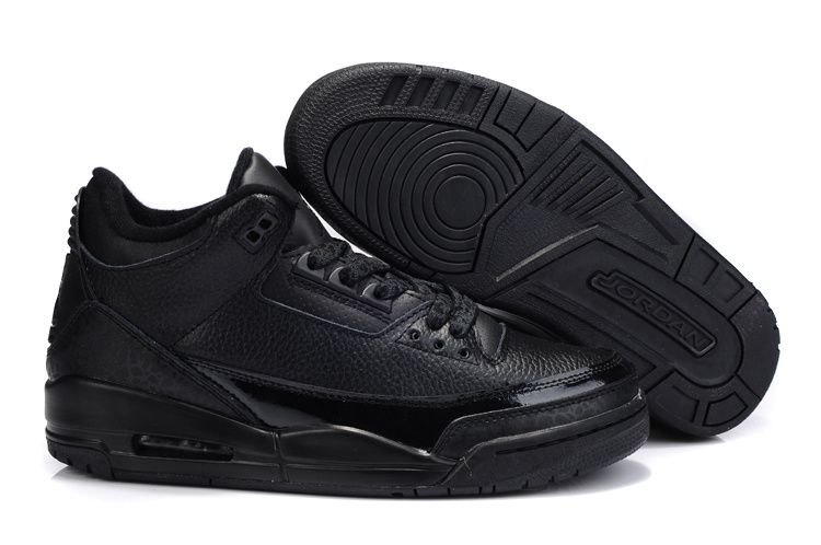 Cheap Nike Air Jordan 3 Mens Basketball Shoes All Black