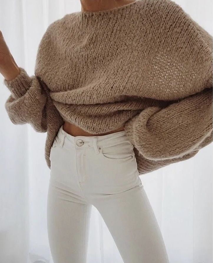 Photo of Beige knitwear top outfit