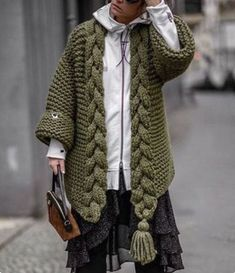 Handknitting Norway Style Oversized Chunky Cardigan , Winter Trend , Christmas Gift .