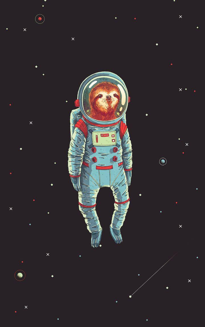 Slothstronaut Wallpapers Criativos Arte Legal Ilustracao