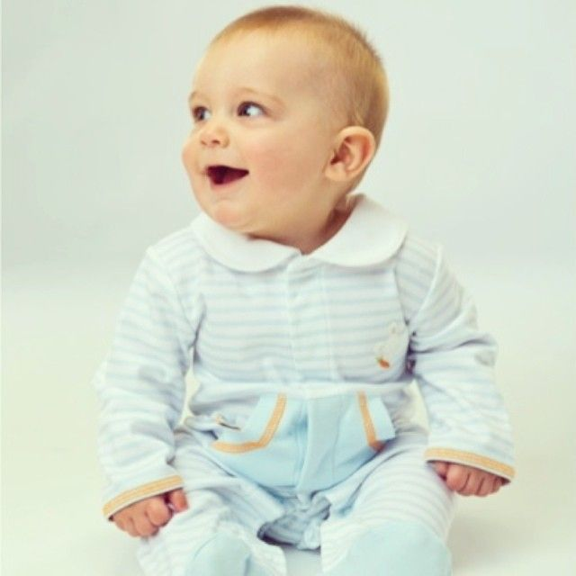 Charming Baby Blue and White Stripe Knit with Carrot Orange Thread Trim!!! Sleepy Bud Apliqué and Carrots on Each Footie!!! #colibribebe #coverall #sleepy #bunny #carrot #baby #blue #comfy #cute