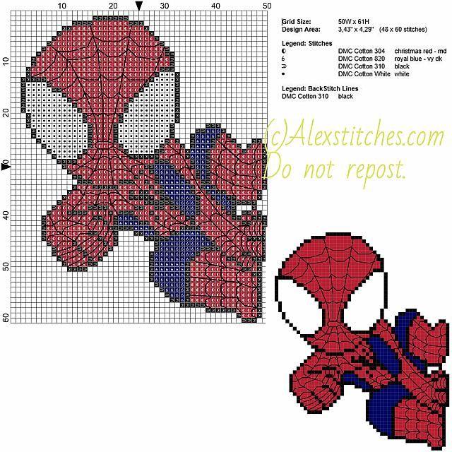Spiderman free cross stitch pattern 50x61 5 colors | Free