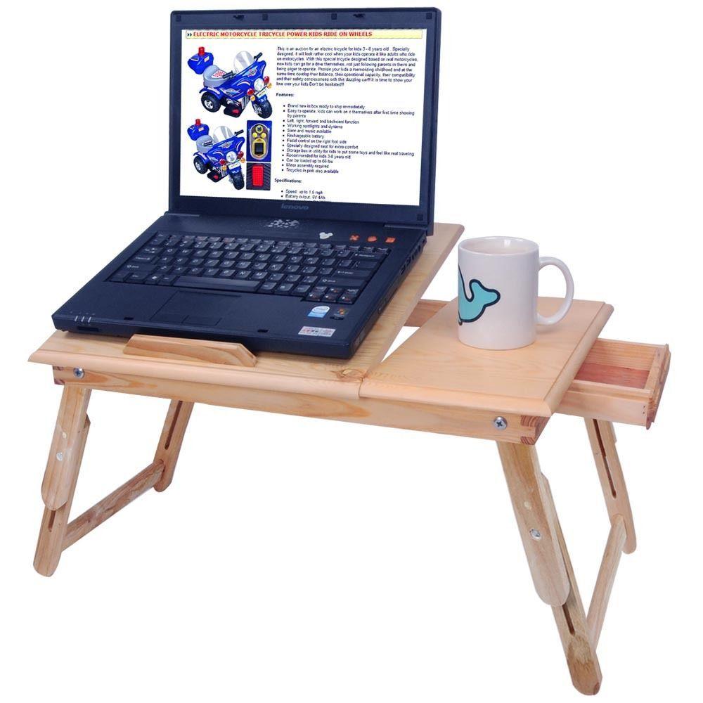 Folding 5 Tilting Wood Laptop Stand Table Read Car Bed Book Tray  ~ Mesas De Escritorio Para Ordenador