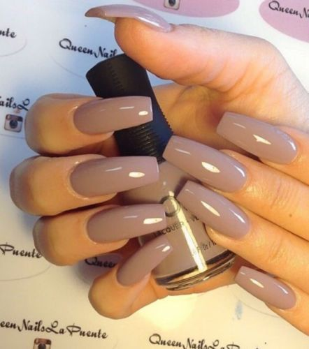 Set Of Painted Taupe Glossy Long Coffin Nails Coffin Shape Nails Coffin Nails Long Cute Nails