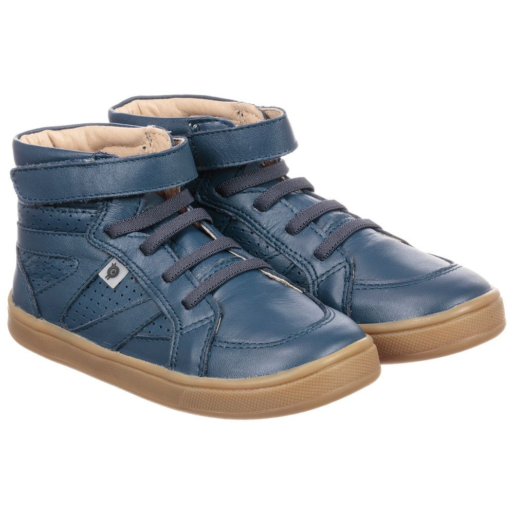 Old Soles Blue Leather High Top Trainers. Shop from an