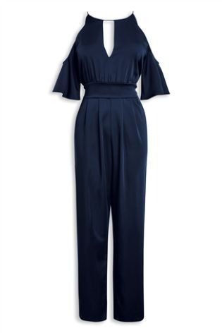Summer styling doesn't mean your pins have to be out - opt for this cold shoulder navy jumpsuit.