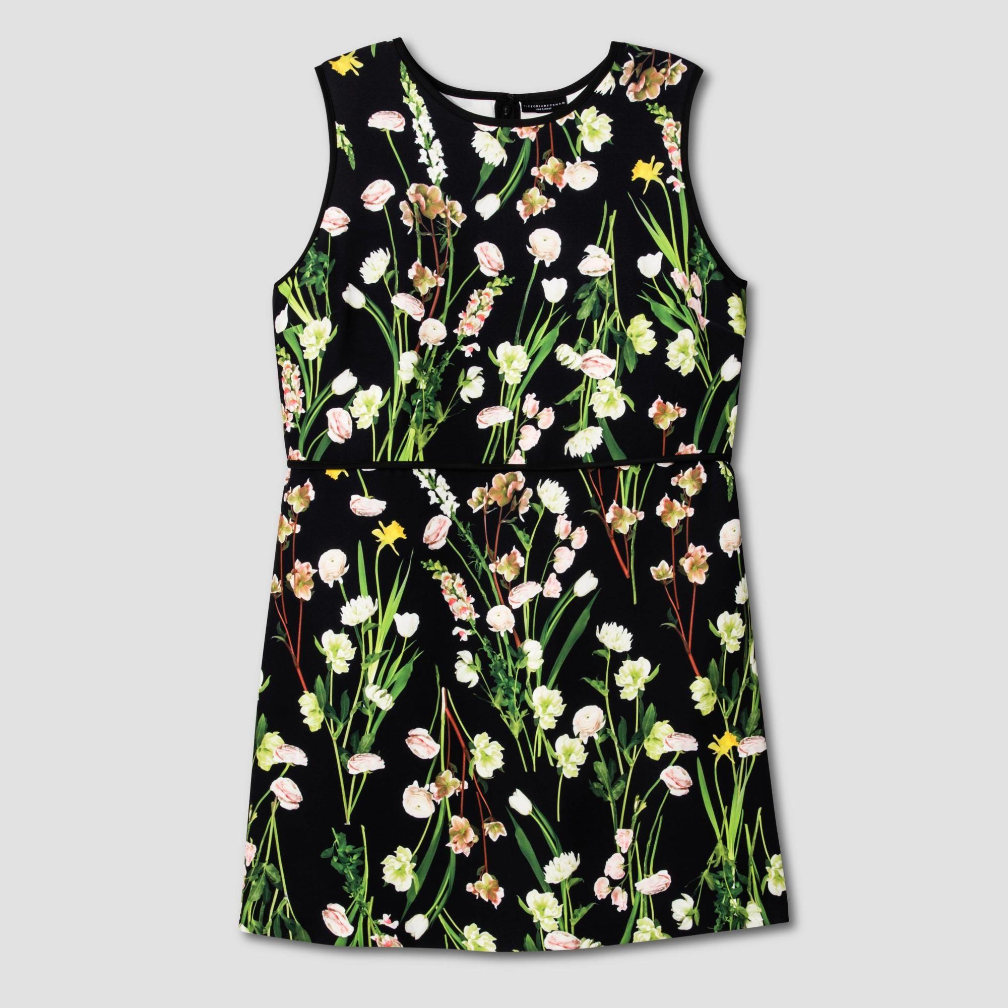 cb059e747ce Victoria Beckham for Target Womens  Plus Black English Floral Satin Dress