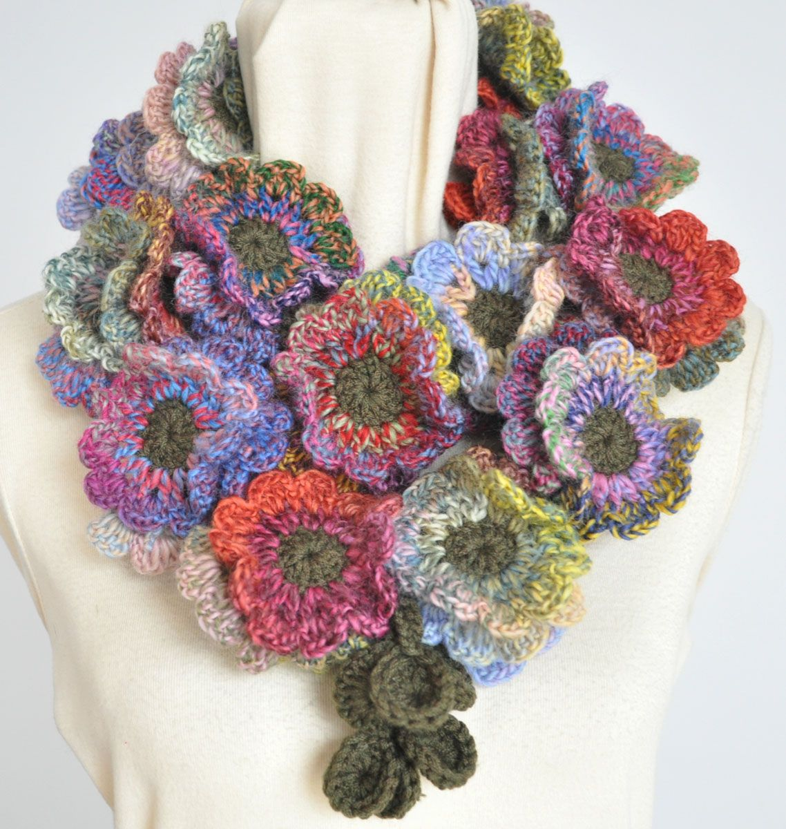 Floral Fall - Crochet Fancy Wool Yarn Flower Scarf ...