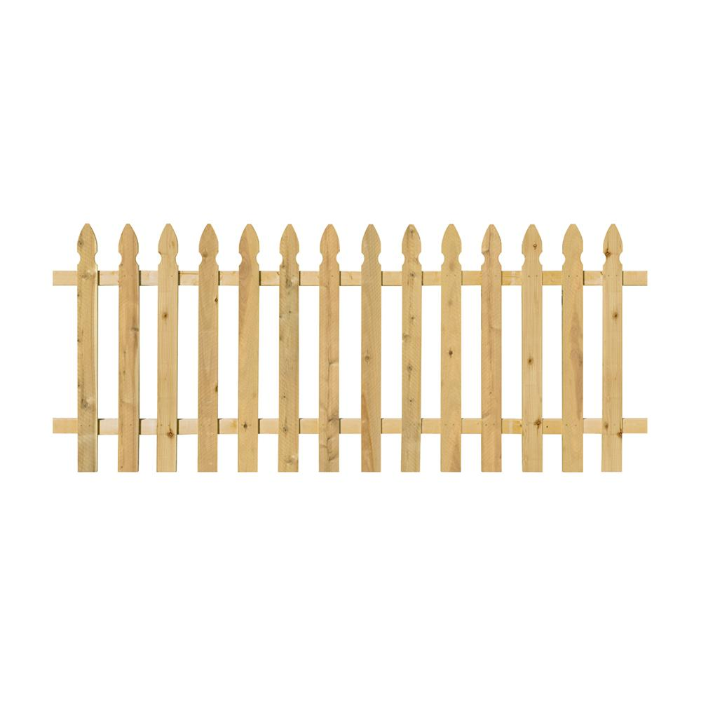 3 1 2 Ft X 8 Ft Pressure Treated Pine Spaced French Gothic Fence Panel With 2 In X 4 In Backer Rails 400970 The Home Depot Fence Panels Wood Fence Cedar Paneling