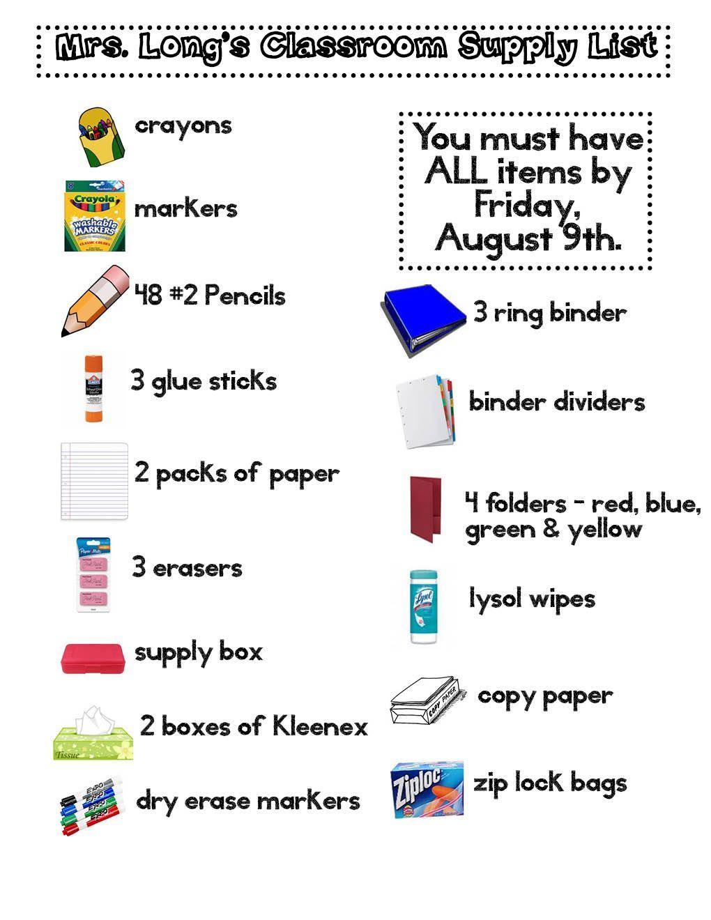 Supply List School Supplies List Classroom Supplies School Supplies
