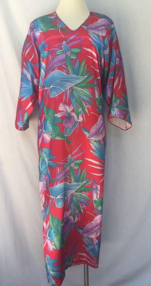 Mary McFadden Vintage Caftan Muumuu Shift Maxi Kimono Lounge Gown ...
