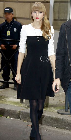 http://www.celebritystyleguide.com/images/items/Taylor-Swift-wore-the-Kate-Spade-New-York-colorblock-dress-in-Paris.jpg