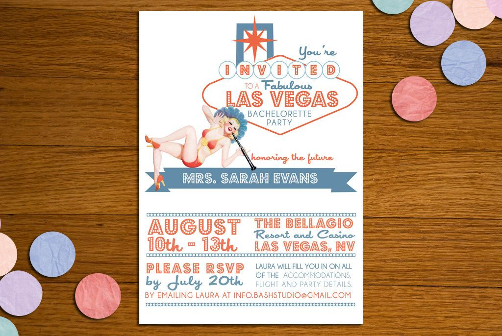 Vintage Vegas Pinup Printable Bachelorette Party Invitation. | My ...