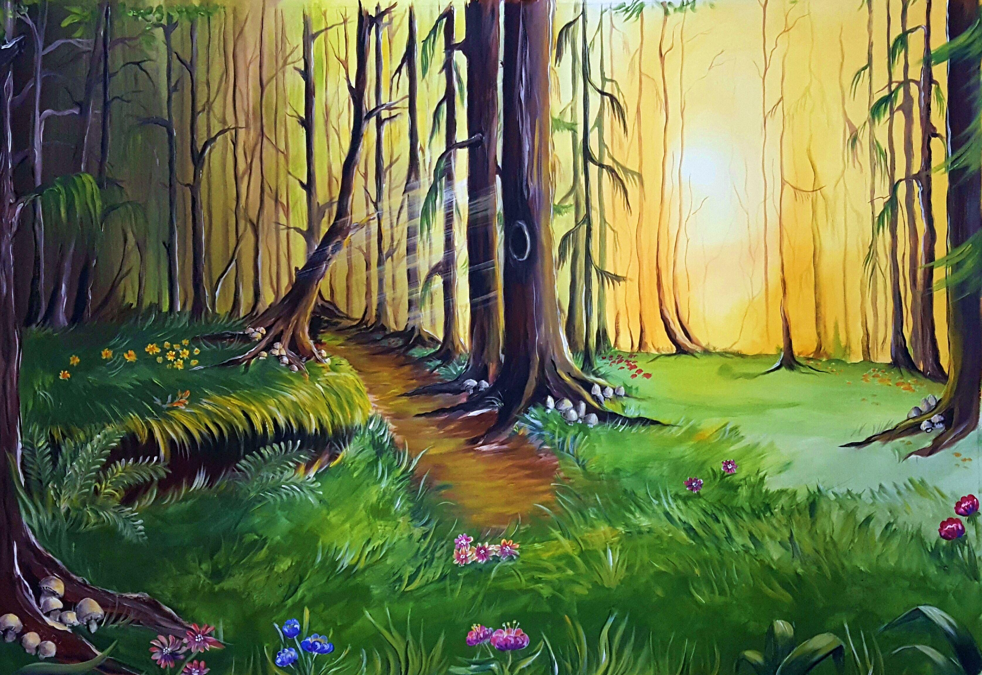 M rchenwald kulisse gemalt auf leinwand rotk ppchen malerei wohnart maria keufen www - Leinwand malerei ...