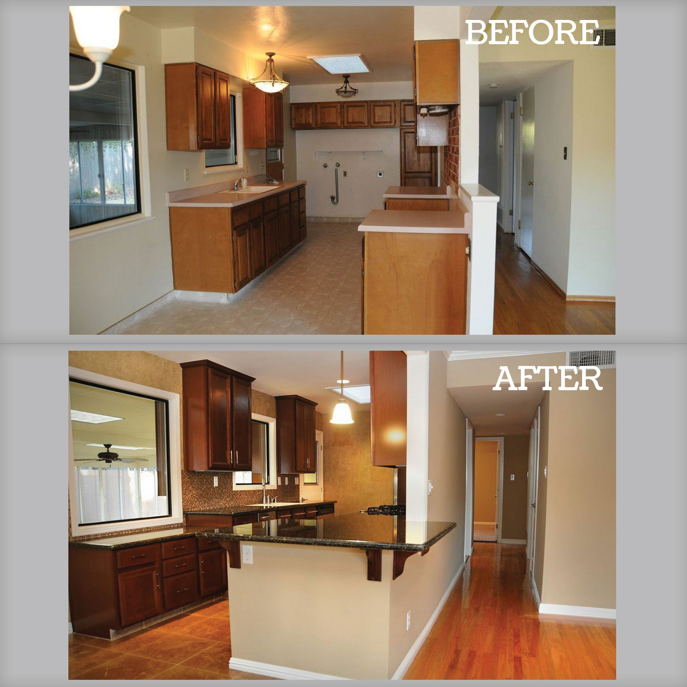 A Before And After Photo Of A Kitchen Remodel Hybrid Homes Did